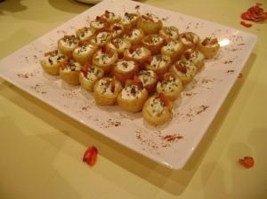 Batatinha com cream cheese e bacon crocante