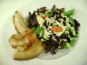Salada crocante com vinagrete de mostarda